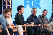 (L-R) Actors Seth Green and Mila Kunis, creator/executive producer Seth MacFarlane, executve producer/showrunner Rich Appel and executive producer/showrunner Alec Sulkin of the television show Family Guy speak onstage during the FOX portion of the 2018 Winter Television Critics Association Press Tour at The Langham Huntington, Pasadena on January 4, 2018 in Pasadena, California.