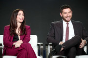 Co-creators/Writers/Actors Shoshannah Stern (L) and Josh Feldman of 'This Close' speak onstage during the AMC Networks portion of the 2018 Winter Television Critics Association Press Tour at The Langham Huntington, Pasadena on January 13, 2018 in Pasadena, California.
