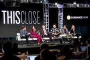 (L-R) Actor Zach Gilford, co-creators/writers/actors Shoshannah Stern and Josh Feldman, and actors Andrew Ahn, Colt Prattes, and Cheryl Hines of 'This Close' speak onstage during the AMC Networks portion of the 2018 Winter Television Critics Association Press Tour at The Langham Huntington, Pasadena on January 13, 2018 in Pasadena, California.
