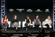 (L-R) Showrunner of 'UnREAL' Stacy Rukeyser, co-creator of 'UnREAL' Sarah Gertrude Shapiro, creator/showrunner of 'Mary Kills People' Tara Armstrong, co-creator/co-showrunner of 'YOU' Sera Gamble, and creator of 'American Princess' Jamie Denbo speak onstage for the 'Wonder Women: A Conversation with the Creators and Showrunners of Lifetime Scripted Dramas' panel during the A&E Networks portion of the 2018 Winter Television Critics Association Press Tour at The Langham Huntington, Pasadena on January 14, 2018 in Pasadena, California.