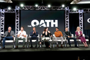 (L-R) Creator/Executive producer/Writer Joe Halpin and actors Ryan Kwanten, Cory Hardrict, Katrina Law, Arlen Escarpeta, J.J. Soria, and Elisabeth Rohm of 'The Oath' speak onstage during the Crackle portion of the 2018 Winter Television Critics Association Press Tour at The Langham Huntington, Pasadena on January 14, 2018 in Pasadena, California.