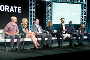 (L-R) Actors Adam Lustick and Anne Dudek, executive producer/writer/actor Jake Weisman, executive producer/director/writer Pat Bishop, executive producer/writer/actor Matt Ingebretson, and actors Lance Reddick and Aparna Nancherla of 'Corporate' speak onstage during the Viacom portion of the 2018 Winter Television Critics Association Press Tour at The Langham Huntington, Pasadena on January 15, 2018 in Pasadena, California.