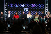 (L-R) Creator/executive producer/showrunner/writer Noah Hawley, executive producer/director John Cameron, executive producer Lauren Shuler Donner, actors Dan Stevens, Rachel Keller, Aubrey Plaza, Jemaine Clement and Jean Smart speak onstage during the FOX/FX portion of the 2018 Winter Television Critics Association Press Tour at The Langham Huntington, Pasadena on January 5, 2018 in Pasadena, California.