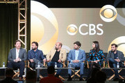 (L-R) Executive producer Patrick Walsh, executive producer Johnny Galecki, actors Ian Gomez, Lindsey Kraft, Jay R. Ferguson and David Krumholtz of the television show Living Biblically speak onstage during the CBS/Showtime portion of the 2018 Winter Television Critics Association Press Tour at The Langham Huntington, Pasadena on January 6, 2018 in Pasadena, California.