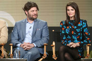 Actors Jay R. Ferguson (L) and Lindsey Kraft of the television show Living Biblically speak onstage during the CBS/Showtime portion of the 2018 Winter Television Critics Association Press Tour at The Langham Huntington, Pasadena on January 6, 2018 in Pasadena, California.
