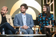 (L-R) Actors Ian Gomez, Jay R. Ferguson and  Lindsey Kraft of the television show Living Biblically speak onstage during the CBS/Showtime portion of the 2018 Winter Television Critics Association Press Tour at The Langham Huntington, Pasadena on January 6, 2018 in Pasadena, California.
