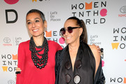 Author Zainab Salbi and fashion designer Donna Karan attend the 2018 Women In The World Summit at Lincoln Center on April 12, 2018 in New York City.