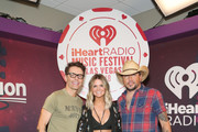 (L-R) Bobby Bones, Amy, and Jason Aldean attend the 2018 iHeartRadio Music Festival at T-Mobile Arena on September 21, 2018 in Las Vegas, Nevada.