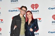Bobby Bones (L) and Sharna Burgess pose in the press room during the iHeartRadio Music Festival at T-Mobile Arena on September 21, 2018 in Las Vegas, Nevada.