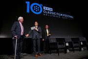 (L-R) Special Guests Andrew Jackson York, TCM Host Dave Karger, and Gerald York attend 'Sergeant York' at the 2019 10th Annual TCM Classic Film Festival on April 11, 2019 in Hollywood, California.
