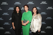(L-R) Sarah Barnett, AMC Entertainment Networks President, actress Fiona Shaw and Courtney Thomasma, Executive Director/BBC America, attend the AMC portion of the 2019 Winter TCA on February 9, 2019 in Pasadena, California.