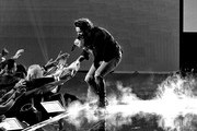Image has been converted to black and white.) Thomas Rhett performs onstage during the 2019 American Music Awards at Microsoft Theater on November 24, 2019 in Los Angeles, California.
