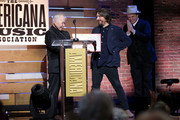 John Prine, Dave Cobb, and John C. Reilly onstage during the 2019 Americana Honors & Awards at Ryman Auditorium on September 11, 2019 in Nashville, Tennessee.