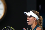 Caroline Wozniacki of Denmark reacts in her first round match against Alison Van Uytvanck of Belgium during day one of the 2019 Australian Open at Melbourne Park on January 14, 2019 in Melbourne, Australia.