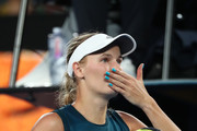 Caroline Wozniacki of Denmark celebrates victory in her first round match against Alison Van Uytvanck of Belgium during day one of the 2019 Australian Open at Melbourne Park on January 14, 2019 in Melbourne, Australia.