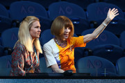 Anna Wintour talks to Rod Laver during day 11 of the 2019 Australian Open at Melbourne Park on January 24, 2019 in Melbourne, Australia.