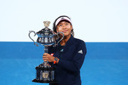 Naomi Osaka of Japan  with the Daphne Akhurst Memorial Cup following victory in her Women's Singles Final match against Petra Kvitova of the Czech Republic during day 13 of the 2019 Australian Open at Melbourne Park on January 26, 2019 in Melbourne, Australia.