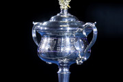 The Daphne Akhurst Memorial Cup is seen before the Women's Singles Final match between Petra Kvitova of the Czech Republic and Naomi Osaka of Japan during day 13 of the 2019 Australian Open at Melbourne Park on January 26, 2019 in Melbourne, Australia.