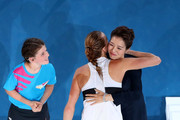 Petra Kvitova of Czech Republic embraces Li Na following defeat in her Women's Singles Final match against Naomi Osaka of Japan during day 13 of the 2019 Australian Open at Melbourne Park on January 26, 2019 in Melbourne, Australia.