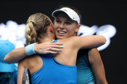 Caroline Wozniacki of Denmark embraces Johanna Larsson of Sweden following their second round match during day three of the 2019 Australian Open at Melbourne Park on January 16, 2019 in Melbourne, Australia.