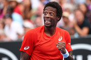 Gael Monfils of France celebrates a point in his second round match against Taylor Fritz of the United States during day three of the 2019 Australian Open at Melbourne Park on January 16, 2019 in Melbourne, Australia.