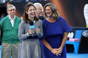 (L-R) 2019 Hall of Fame inductees Li Na and Mary Pierce address the crowd during day nine of the 2019 Australian Open at Melbourne Park on January 22, 2019 in Melbourne, Australia.