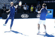 Japanese footballer and Melbourne Victory player Keisuke Honda and Kei Nishikori team up for a tennis clinic during a practice session ahead of the 2019 Australian Open at Melbourne Park on January 11, 2019 in Melbourne, Australia.