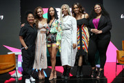 (L-R) Dana Chanel, Meagan Good, Shavone Charles, Draya Michele, Stephanie Ike, and Raquel Harper pose onstage at BET Her Presents Fashion & Beauty during the BET Experience at Los Angeles Convention Center on June 22, 2019 in Los Angeles, California.