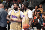 (L-R) The Game and 2 Chainz  participate during the BETX Celebrity Basketball Game Sponsored By Sprite during the BET Experience at Los Angeles Convention Center on June 22, 2019 in Los Angeles, California.
