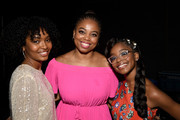 (L-R) Yara Shahidi, Jemele Hill and Marsai Martin backstage at Generation Genius: From Blackish to Grownish at Genius Talks Sponsored By Credit Karma during the BET Experience at the Los Angeles Convention Center on June 22, 2019 in Los Angeles, California.