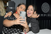 Cierra Ramirez greets a fan at the 2019 BET Experience Kicksperience Sponsored By SPRITE at Los Angeles Convention Center on June 21, 2019 in Los Angeles, California.