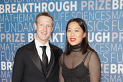 Mark Zuckerberg (L) and Priscilla Chan attend the 2019 Breakthrough Prize at NASA Ames Research Center on November 4, 2018 in Mountain View, California.