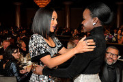 (L-R) Kerry Washington and Lupita Nyong'o attend the 2019 British Academy Britannia Awards presented by Jaguar Land Rover and American Airlines at The Beverly Hilton Hotel on October 25, 2019 in Beverly Hills, California.