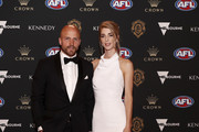 Nathan Jones of the Demons and wife Jerri arrive during the 2019 Kennedy Brownlow Red Carpet arrivals at Crown Palladium on September 23, 2019 in Melbourne, Australia.