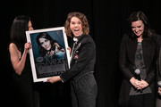 (L-R) Leslie Fram, Brandi Carlile and Brandy Clark seen onstage during the 2019 CMT Next Women Of Country at CMA Theater at the Country Music Hall of Fame and Museum on November 12, 2019 in Nashville, Tennessee.