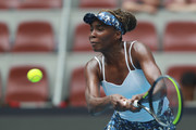 Venus Williams of the United States returns a shot against Barbora Strycova of the Czech Republic during women's singles first round match of 2019 China Open at the China National Tennis Center on September 29, 2019 in Beijing, China.