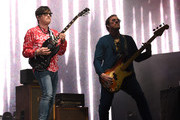 Rivers Cuomo and Scott Shriner of Weezer perform at Coachella Stage during the 2019 Coachella Valley Music And Arts Festival on April 13, 2019 in Indio, California.