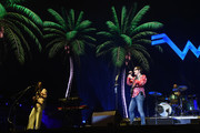Brian Bell, Rivers Cuomo and Patrick Wilson of Weezer perform at Coachella Stage during the 2019 Coachella Valley Music And Arts Festival on April 13, 2019 in Indio, California.