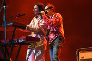 Brian Bell and Rivers Cuomo of Weezer perform at Coachella Stage during the 2019 Coachella Valley Music And Arts Festival on April 13, 2019 in Indio, California.