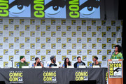 (L-R) China Anne McClain, Cress Williams, Nafessa Williams, Jordan Calloway, Christine Adams and Karama Horne speak at the 'Black Lightning' Special Video Presentation and Q&A during 2019 Comic-Con International at San Diego Convention Center on July 20, 2019 in San Diego, California.