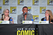 Erin Moriarty, Jessie T. Usher, and Elisabeth Shue speak at 'The Boys' Panel during 2019 Comic-Con International at San Diego Convention Center on July 19, 2019 in San Diego, California.