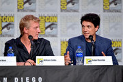 William Zabka and Ralph Macchio speak at the 'Cobra Kai: Past, Present, And Future' panel during 2019 Comic-Con International at San Diego Convention Center on July 18, 2019 in San Diego, California.