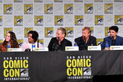 Mary Mouser, Xolo Mariduena, Martin Cove, William Zabka, and Ralph Macchio speak at the 'Cobra Kai: Past, Present, And Future' panel during 2019 Comic-Con International at San Diego Convention Center on July 18, 2019 in San Diego, California.