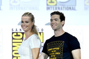 """Rebecca Romijn and Ethan Peck speak at the """"Enter The Star Trek Universe"""" Panel during 2019 Comic-Con International at San Diego Convention Center on July 20, 2019 in San Diego, California."""