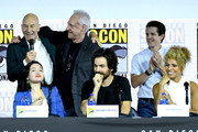"Patrick Stewart, Brent Spiner, Isa Briones, Santiago Cabrera, Jonathan Del Arco, and Michelle Hurd speak at the ""Enter The Star Trek Universe"" Panel during 2019 Comic-Con International at San Diego Convention Center on July 20, 2019 in San Diego, California."