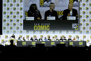 "(L-R) Dominic Patten, Kirsten Beyer, Heather Kaden, Akiva Goldsman, Michael Chabon, Alex Kurtzman, Patrick Stewart, Isa Briones, Santiago Cabrera, Evan Evagora, Brent Spiner, Jeri Ryan, and Jonathan Del Arco speak at the ""Enter The Star Trek Universe"" Panel during 2019 Comic-Con International at San Diego Convention Center on July 20, 2019 in San Diego, California."