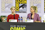 Maggie Grace and Jenna Elfman speak at the 'Fear The Walking Dead' Panel during 2019 Comic-Con International at San Diego Convention Center on July 19, 2019 in San Diego, California.
