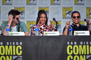 .(L-R) Grant Gustin, Candice Patton and Carlos Valdes speak at 'The Flash' Special Video Presentation and Q&A during 2019 Comic-Con International at San Diego Convention Center on July 20, 2019 in San Diego, California.