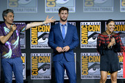 (L-R) Taika Waititi, Chris Hemsworth and Tessa Thompson speak at the Marvel Studios Panel during 2019 Comic-Con International at San Diego Convention Center on July 20, 2019 in San Diego, California.