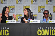 """Deedee Magno Hall, Michaela Dietz, and Estelle speak at the """"Steven Universe"""" Panel during 2019 Comic-Con International at San Diego Convention Center on July 19, 2019 in San Diego, California."""